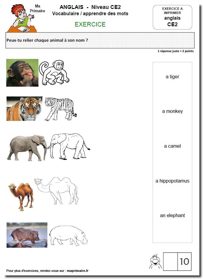 Vocabulaire 2 anglais au ce2