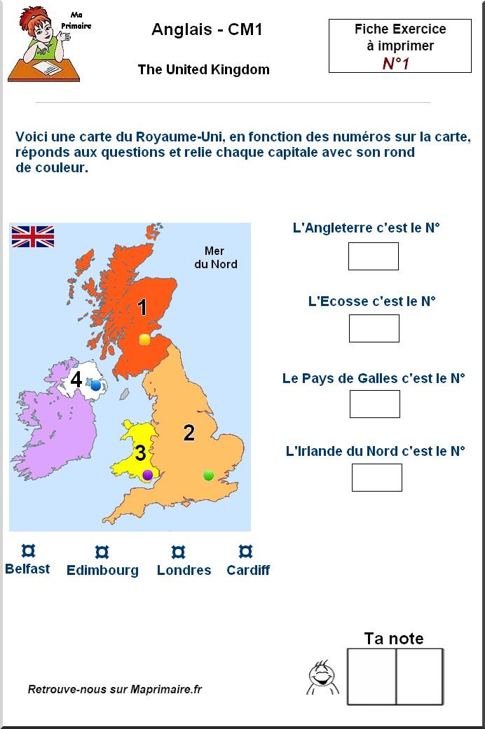 Carte Royaume Uni A Imprimer.Le Royaume Uni Carte Et Questions Au Cm1
