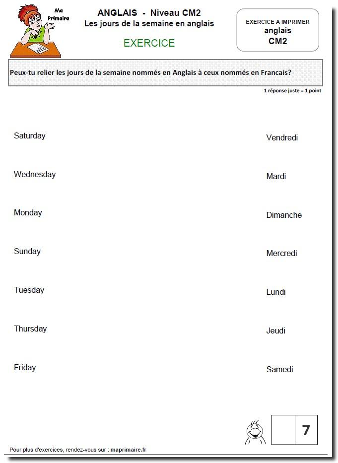 Les jours en anglais au ce2